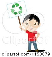 Cartoon Of A Boy Holding Up A Recycle Sign Royalty Free Vector Clipart