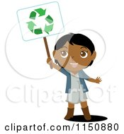 Cartoon Of A Black Or Indian Girl Holding Up A Recycle Sign Royalty Free Vector Clipart