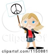 Cartoon Of A Blond Girl Holding Up A Peace Sign Royalty Free Vector Clipart