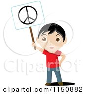 Cartoon Of A Boy Holding Up A Peace Sign Royalty Free Vector Clipart