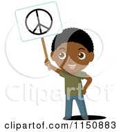 Cartoon Of A Black Boy Holding Up A Peace Sign Royalty Free Vector Clipart by Rosie Piter