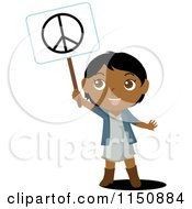 Cartoon Of A Black Or Indian Girl Holding Up A Peace Sign Royalty Free Vector Clipart