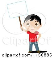 Cartoon Of A Boy Holding Up A Blank Sign Royalty Free Vector Clipart