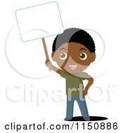 Cartoon Of A Black Boy Holding Up A Blank Sign Royalty Free Vector Clipart