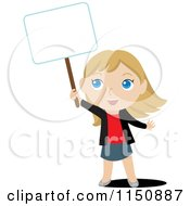 Cartoon Of A Blond Girl Holding Up A Blank Sign Royalty Free Vector Clipart by Rosie Piter