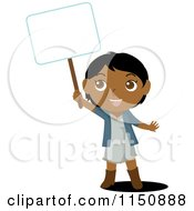 Cartoon Of An Indian Girl Holding Up A Blank Sign Royalty Free Vector Clipart