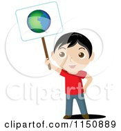 Cartoon Of A Boy Holding Up An Ecology Planet Earth Sign Royalty Free Vector Clipart