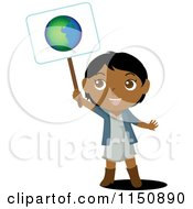 Cartoon Of A Black Or Indian Girl Holding Up An Ecology Planet Earth Sign Royalty Free Vector Clipart