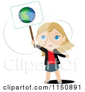 Cartoon Of A Blond Girl Holding Up An Ecology Planet Earth Sign Royalty Free Vector Clipart
