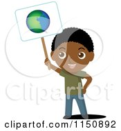 Cartoon Of A Black Boy Holding Up An Ecology Planet Earth Sign Royalty Free Vector Clipart