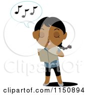 Cartoon Of A Blond Girl Holding A Book And Singing Royalty Free Vector Clipart
