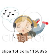 Blond Girl Reading Wearing Headphones And Singing