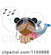 Cartoon Of A Black Or Indian Girl Reading Wearing Headphones And Singing Royalty Free Vector Clipart