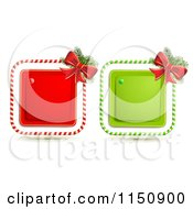 Clipart Of A Candy Cane Christmas Bow And Square Icons Royalty Free Vector Clipart