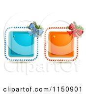 Clipart Of A Candy Cane Christmas Bow And Square Icons 2 Royalty Free Vector Clipart by merlinul
