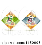 Clipart Of Diamond Christmas Stocking Icons Royalty Free Vector Clipart by merlinul