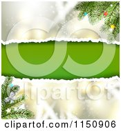 Clipart Of A Snowflake Christmas Background With Torn Paper Copyspace And Branches Royalty Free Vector Clipart