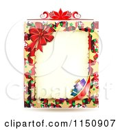 Clipart Of A Christmas Border With A Poinsettia Gifts And Bow Royalty Free Vector Clipart