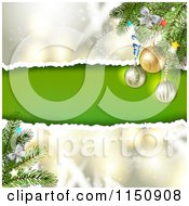 Clipart Of A Snowflake Christmas Background With Torn Paper Copyspace And Bauble Branches Royalty Free Vector Clipart
