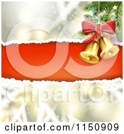 Clipart Of A Snowflake Christmas Background With Torn Red Paper Copyspace And Bells Royalty Free Vector Clipart