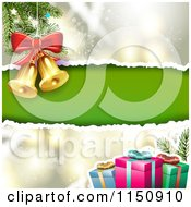 Clipart Of A Snowflake Christmas Background With Torn Green Paper Copyspace Gifts And Bells Royalty Free Vector Clipart