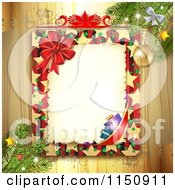 Clipart Of A Christmas Border With A Poinsettia Gifts And Bow Over Wood With Gold Grunge Royalty Free Vector Clipart