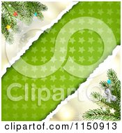 Clipart Of A Snowflake Christmas Background With Torn Star Paper Copyspace And Branches Royalty Free Vector Clipart by merlinul