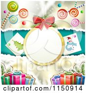 Clipart Of A Christmas Candy Background With A Suspended Bauble Frame And Gifts Royalty Free Vector Clipart