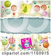 Clipart Of A Christmas Background With Torn Paper Copyspace Snowmen And Lollipops Royalty Free Vector Clipart