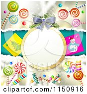 Clipart Of A Christmas Candy Background With A Suspended Bauble Frame Royalty Free Vector Clipart