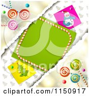 Clipart Of A Christmas Candy Background Torn Paper And Copyspace Royalty Free Vector Clipart