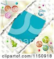 Clipart Of A Christmas Background With Torn Paper Copyspace And Lollipops Royalty Free Vector Clipart