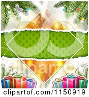 Clipart Of A Christmas Background With Torn Green Tree Paper Copyspace Gifts And Branches Royalty Free Vector Clipart