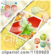 Clipart Of A Christmas Candy Background With A Christmas Tree Royalty Free Vector Clipart