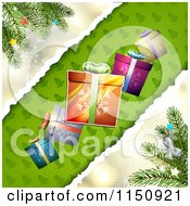 Clipart Of A Christmas Background With Torn Paper Branches And Gifts Royalty Free Vector Clipart