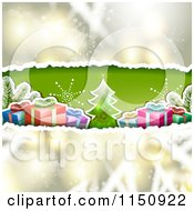 Clipart Of A Christmas Background With Torn Paper Tree And Gifts Royalty Free Vector Clipart