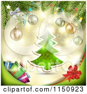 Clipart Of A Christmas Background With A Tree Branches And Gifts Royalty Free Vector Clipart