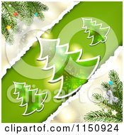 Clipart Of A Torn Paper Christmas Background With Trees Royalty Free Vector Clipart by merlinul
