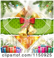 Clipart Of A Christmas Background Of Bells In A Diamond With Gifts And A Tree Royalty Free Vector Clipart