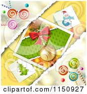 Clipart Of A Christmas Candy Background With Torn Paper And A Bauble Royalty Free Vector Clipart