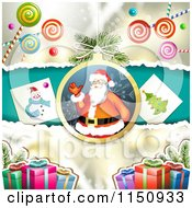 Clipart Of A Christmas Candy Background With A Santa Bauble Pictures And Gifts Royalty Free Vector Clipart