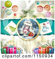 Clipart Of A Christmas Candy Background With Gifts And A Stocking Ornament Royalty Free Vector Clipart