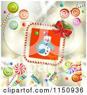 Clipart Of A Candy Cane Border Around A Christmas Snowman With Candy On Gold Royalty Free Vector Clipart