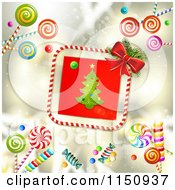 Clipart Of A Candy Cane Border Around A Christmas Tree With Candy On Gold Royalty Free Vector Clipart