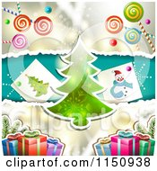 Clipart Of A Christmas Candy Background With A Christmas Tree And Gifts Royalty Free Vector Clipart