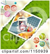 Clipart Of A Christmas Candy Background With A Stocking Picture Royalty Free Vector Clipart