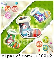 Clipart Of A Christmas Candy Background With Stockings Royalty Free Vector Clipart