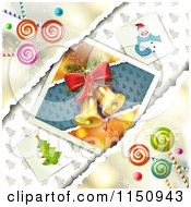 Clipart Of A Christmas Candy Background With Bells Royalty Free Vector Clipart