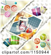 Clipart Of A Christmas Candy Background With Gifts And A Stocking Picture Royalty Free Vector Clipart