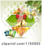 Clipart Of A Christmas Background Of Bells In A Diamond With Gifts And A Tree Royalty Free Vector Clipart by merlinul